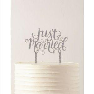 Just Married Glitter Cake Topper